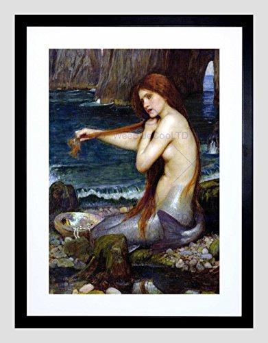 John William Waterhouse Mermaid Old Master Black Framed Art Print B12X759 (Spot Rahmen)