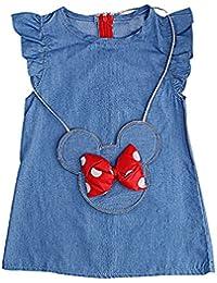 Girls Light Blue Jean Flap Ruffled Sleeve Dress & Minnie Mouse Bag Set