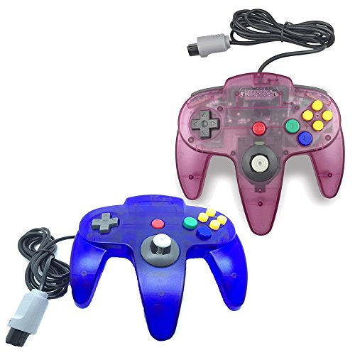 Pomilan Classic Retro Wired Controllers For N64 (Clear Blue1 and Clear Purple1) (Games Video)