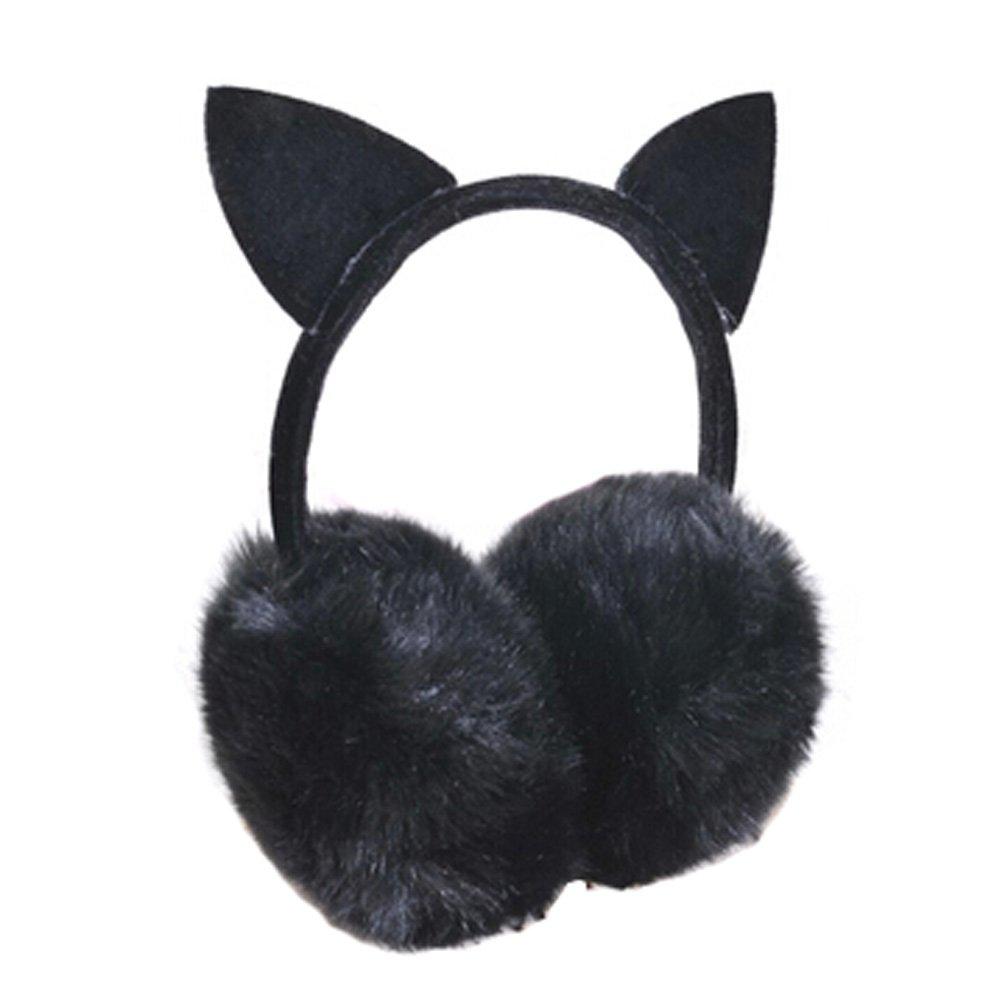 Lovely Cat Ears Super Soft Earmuffs Winter Earmuffs Ear Warmers, Black KE-CLO2474962011-JELLY04611