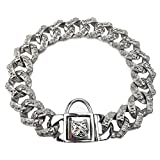 Luxury Dog Choke Collar Chain P Chain/Heavy Duty Stainless Steel 32mm Curb Chain/Best for Small Medium Large Breeds - for Pit Bull Mastiff Bulldog Big Breeds,Silver,E