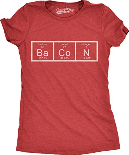 Womens Chemistry of Bacon T Shirt Funny Periodic Table Tee for Ladies (Red) - L (A Pound Of Bacon)