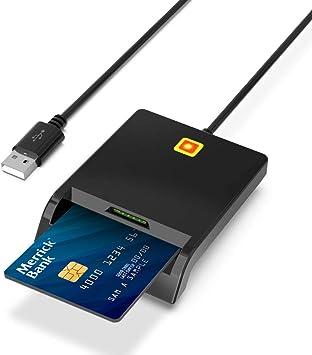 Lector de Tarjetas Inteligente USB Smartcard Reader, Lector de Tarjetas SIM Doble Ranura, Lector DNI electrónico, LED de conexión Estado, Compatible con Windows, Linux, Mac OS: Amazon.es: Electrónica