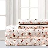 Amrapur Microfiber Sheet Set | Luxuriously Soft 100% Microfiber Rose Printed Bed Sheet Set with Deep Pocket Fitted Sheet, Flat Sheet and 2 Pillowcases, 4 Piece Set, King