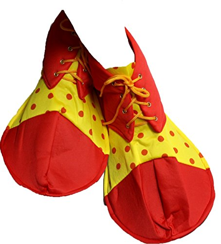 Jumbo Adult Red Clown Shoes (Party Dress Red Yellow Polka Dots Soft Jumbo Clown Shoes Adult Costume (Red))