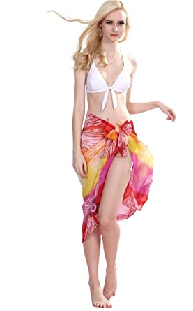 9d86de4b71f29 Central Chic Silky Chiffon Beach Sarong Wrap Holiday Beach Cover Up Scarf  Sun Summer Swimwear