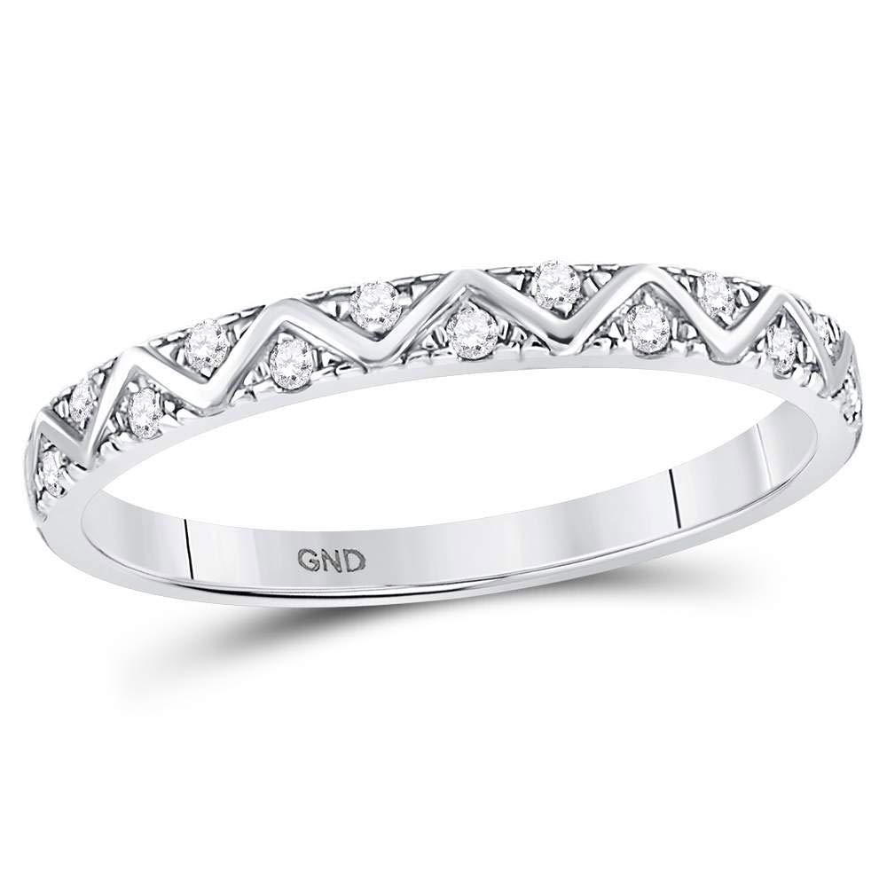 Jewel Tie Solid Size 9-10k White Gold Round Diamond Zigzag Stackable Band Ring 1/10 Cttw