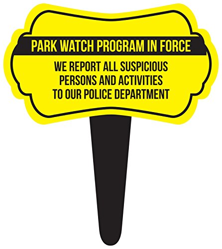 iCandy Combat Park Watch Program in Force Home Yard Lawn Sign, Yellow, 16x18, Single