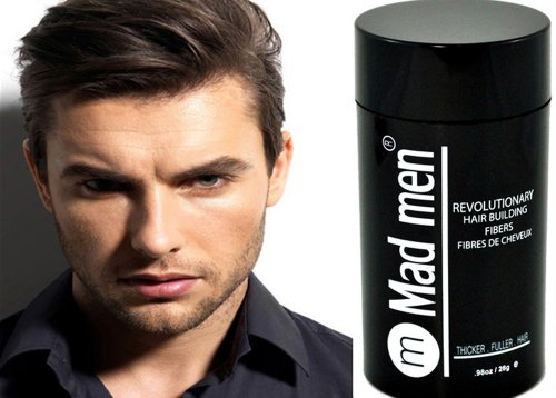 Mad Men Hair Building Fibers - Hair Thickener | Hair Loss Concealer | Hair Loss Treatment. Available in 8 Color Shades - Black, Dark Brown, Medium Brown, Light Brown, Dark Blond, Light Blond, Auburn, Gray. Looks and Feels Like Real Hair. 28 grams / 0.98 oz