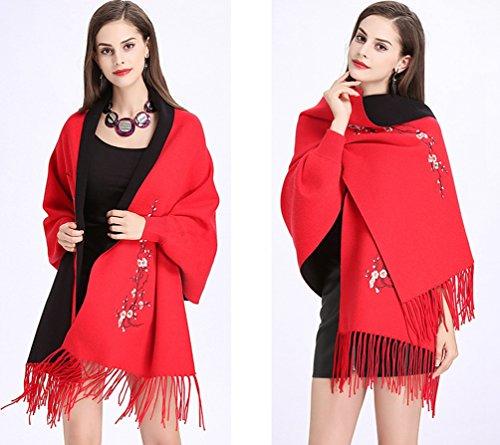 De Suéter Del WanYang Bordados Abrigo Cárdigan Mujer Creativo Rojo Punto Mujeres Chal De Pañuelos Para Negro EqttrWx8F