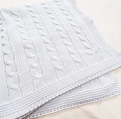 Wallaboo Manta de algodón orgánico de calidad premium con certificado GOTS no químico, Super suave y de alta calidad. Se puede lavar a máquina. Dimensiones: 90 x 70cm, color: blanco: Amazon.es: Bebé