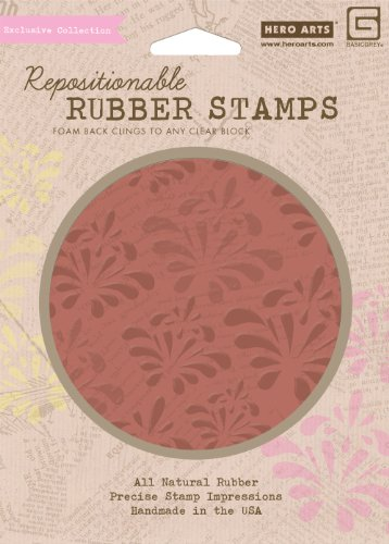 Hero Arts Rubber Stamps Out of Print Print & Flower Pattern Cling Stamp Set