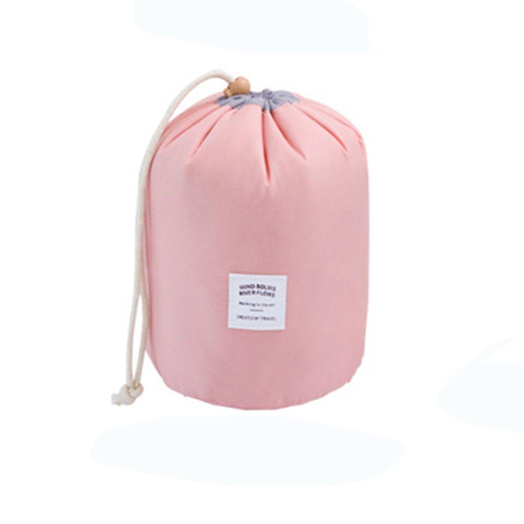 Cosmetic Bag Organizer Makeup Bag Waterproof Toiletry Bag Bucket Shaped Travel Multifunctional Storage Bag (Pink)