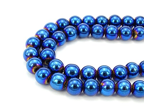 jennysun2010 2mm Natural Non-Magnetic Hematite Gemstone Round Ball Beads 16'' Inches Metallic Blue 1 Strand for Bracelet Necklace Earrings Jewelry Making Crafts Design (16' 2mm Stone)