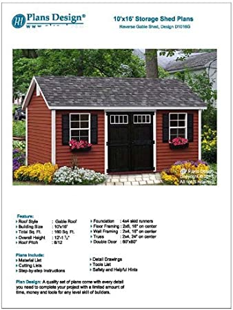 Backyard Shed Plans 10 X 16 Reverse Gable Roof Style Design D1016g Material List And Step By Step Included Woodworking Project Plans Amazon Com