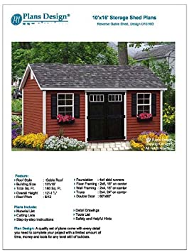 Backyard Shed Plans 10 X 16 Reverse Gable Roof Style Design D1016g Material List And Step By Step Included