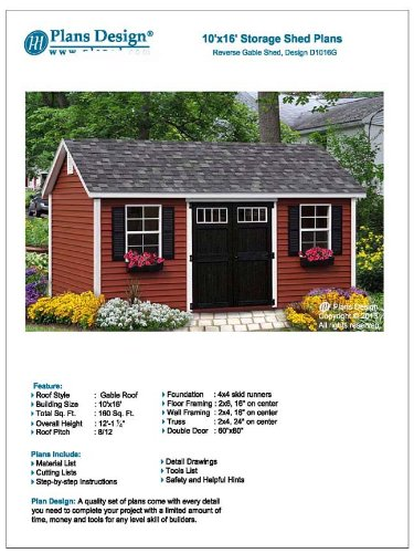 Backyard Shed Plans 10' x 16' Reverse Gable Roof Style Design # D1016G, Material List and Step By Step Included