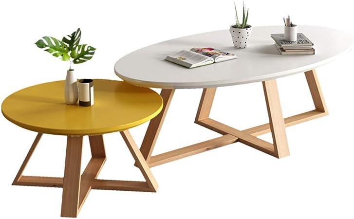 LAMXF Juegos de Mesa para Sala de Estar Muebles de Madera Moderna, Mesas de anidamiento para Espacios pequeños, Mesas de sofá de Patas de Madera de Haya, Mesas de Pedestal: Amazon.es: Hogar