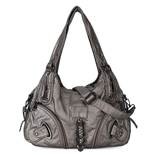 Women Soft Leather Handbag Large Capacity Crossbody Shoulder Bag for Ladies Convertible Hobo Purse Silver by Genold