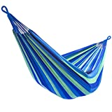 Sorbus Brazilian Double Extra-Long Two Person Portable Hammock Bed, Hanging Rope, Carrying Pouch Included (Blue/Sand/Purple/Red Stripes)