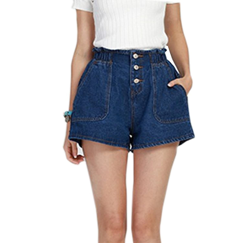 LIYT Women's Fashion Loose Denim Shorts Wide Leg Shorts