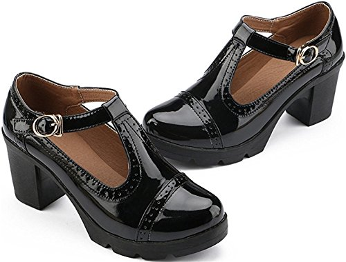 Oxford Shoes Heeled Black Women's Work Bar Style Platform T Shoes British PPXID xa0qYw8Pn