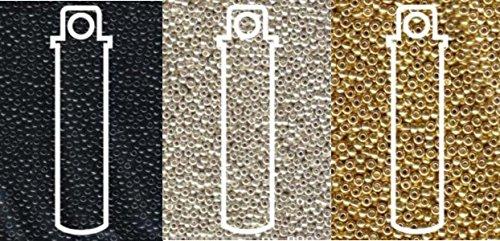Miyuki Metallic Seed Beads Mix, Size 11/0, Galvanized Silver, Galvanized Gold and Black Opaque (8.2 Gram Tubes X 3) ()
