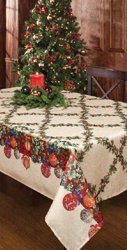 Benson Mills Christmas Ornaments 70-Inch Round Printed Tablecloth