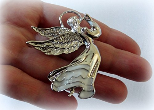 Clear White Crystal Guardian Silver Angel Wings Enamel PIN Brooch Scarf Clips Corsage Jewelry for Woman PIN Christmas Gift
