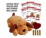 Smart Pet Love New Edition Brown Biscuit Snuggle Puppy Heartbeat Pillow for Dogs PLUS 7 Heat Packs and Extra Batteries