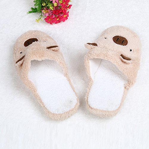 Pulison(TM) Lovely Pig Home Floor Soft Stripe SlippersFluffy Faux Fur Flat Female Shoes Coffee cXv4UR