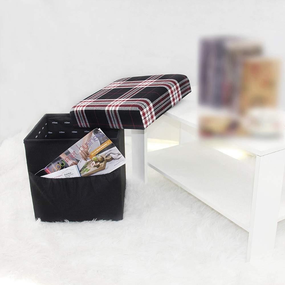 E ZhiGe Storage seat,Square Multi-Function Storage Stool Storage can sit People Folding Stool Storage Box Fashion Lattice Pattern