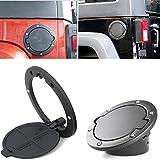 Oxygentle Black Fuel Door Cover Gas Cap Cover for 4 Door 2 Door 2007-2017 Jeep Wrangler JK & Unlimited