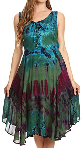 (Sakkas 17322 - Mathilde Marble Tie-dye Sleeveless Tank Dress Tiered and Corset - Green - L/XL )