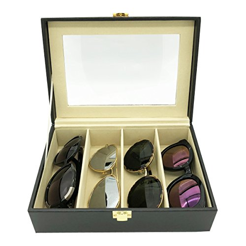 UnionPlus 8-Slot Eyeglass Sunglass Glasses Organizer Collector - Faux Leather Storage Case Box (Black - 4 - Place Sunglasses