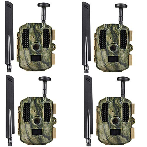 Kuool 4G LTE Cellular & GPS Trail Hunting Camera Trail cam,D40 Game Camera,Wildlife Camera 12MP 1080P Full HD Hunting Camera, 52 Pcs IR LED 120° Wide Angle (4PACK CAM)