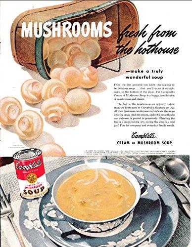 Campbell Art Deco Print - 1945 Campbell's Soup-Cream of Mushroom Original 13.5 * 10.5 Magazine Ad