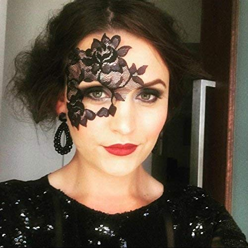 Reusable Adhesive Black Lace Masquerade Mask by LacedAndWaisted - includes liquid adhesive, no stick or strap needed! (strapless lace mask)]()