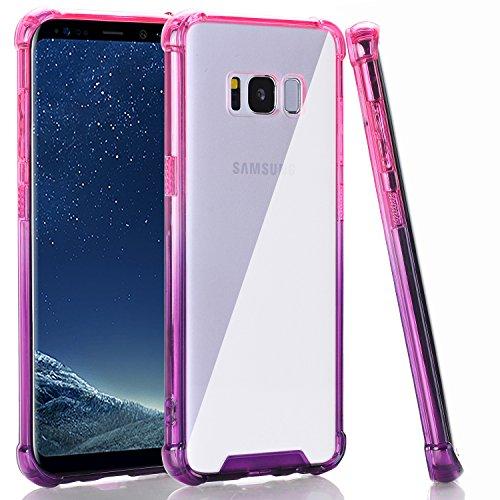 BAISRKE Clear Case for Galaxy S8 Plus, Shock Absorption Flexible TPU Soft Edge Bumper Anti-Scratch Rigid Slim Protective Cases Hard Plastic Back Cover for Galaxy S8 Plus - Pink Purple Gradien