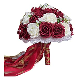 ALISHA BRYANT Rose Wedding Bouquets Handmade Flower Wedding Accessories Flowers Pears Beaded with Ribbon,Wine Red and White 5