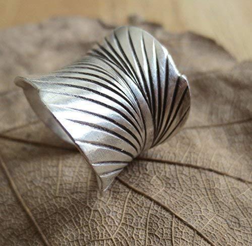 Sterling Silver Leaf Skeleton Ring|Sterling Silver Leaf Patterned Ring|Silver Leaf Ring|Leaf Ring|Gardeners Gift|Gift for Her|Patterned Ring
