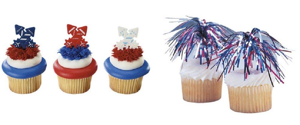 24 count PantShop 4th of July Fireworks Cupcake Picks