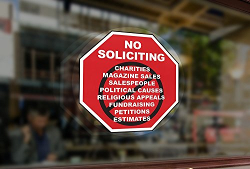 No Soliciting Inside Window Static Cling Decal in Red for Home and Business - 5' x 5' - Removable and Reusable