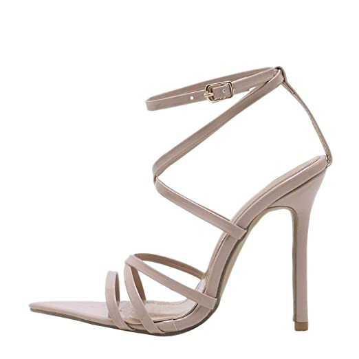 9dd312b79f0 Amazon.com: NEEKEY Women High Heel Sandals Fashion Solid Pointed Toe ...