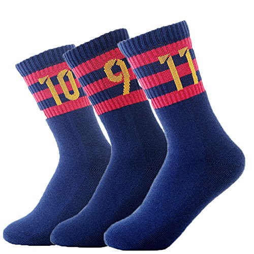 fan products of FC Barcelona Soccer/Football Sports Crew Socks 3 Pair-pack