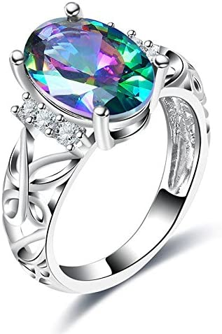Amazon.com: Aunyamanee Jewelry Classical Oval Cut Rainbow Mystic Fire Topaz AAA+ White Zircon Silver Ring 7 8 9 (8): Home & Kitchen