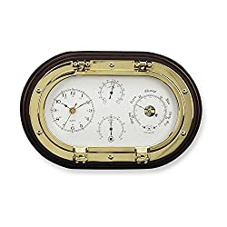 Jewelry Adviser Gifts Brass and Wood Clock and Weather Station