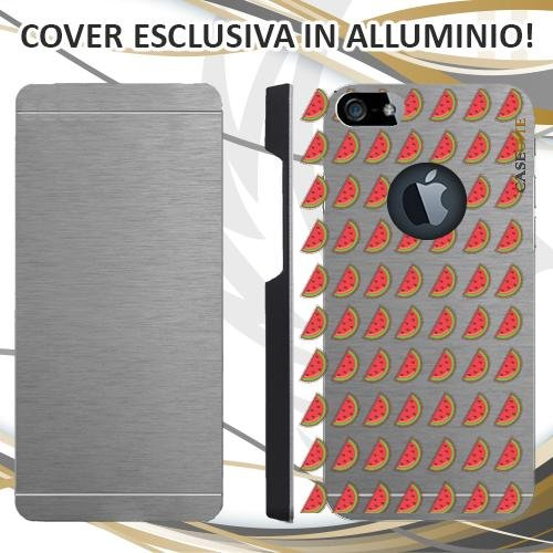 CUSTODIA COVER CASE ANGURIA PATTERN PER IPHONE 5 ALLUMINIO TRASPARENTE