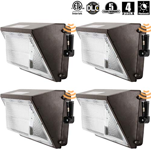 LED Wall Pack Light (IncludePhotocell Dusk-to-Dawn Waterproof),100W 11500LM,120-277V 5000K Daylight DLC cETLus-Listed, Outdoor/Entrance (5-Year Warranty) 4pk (5000K)