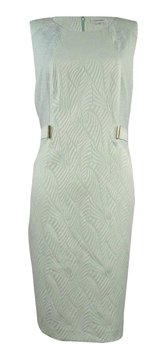 Calvin Klein Women's Mix Media Jacquard Sheath Dress (12, Mint/White)